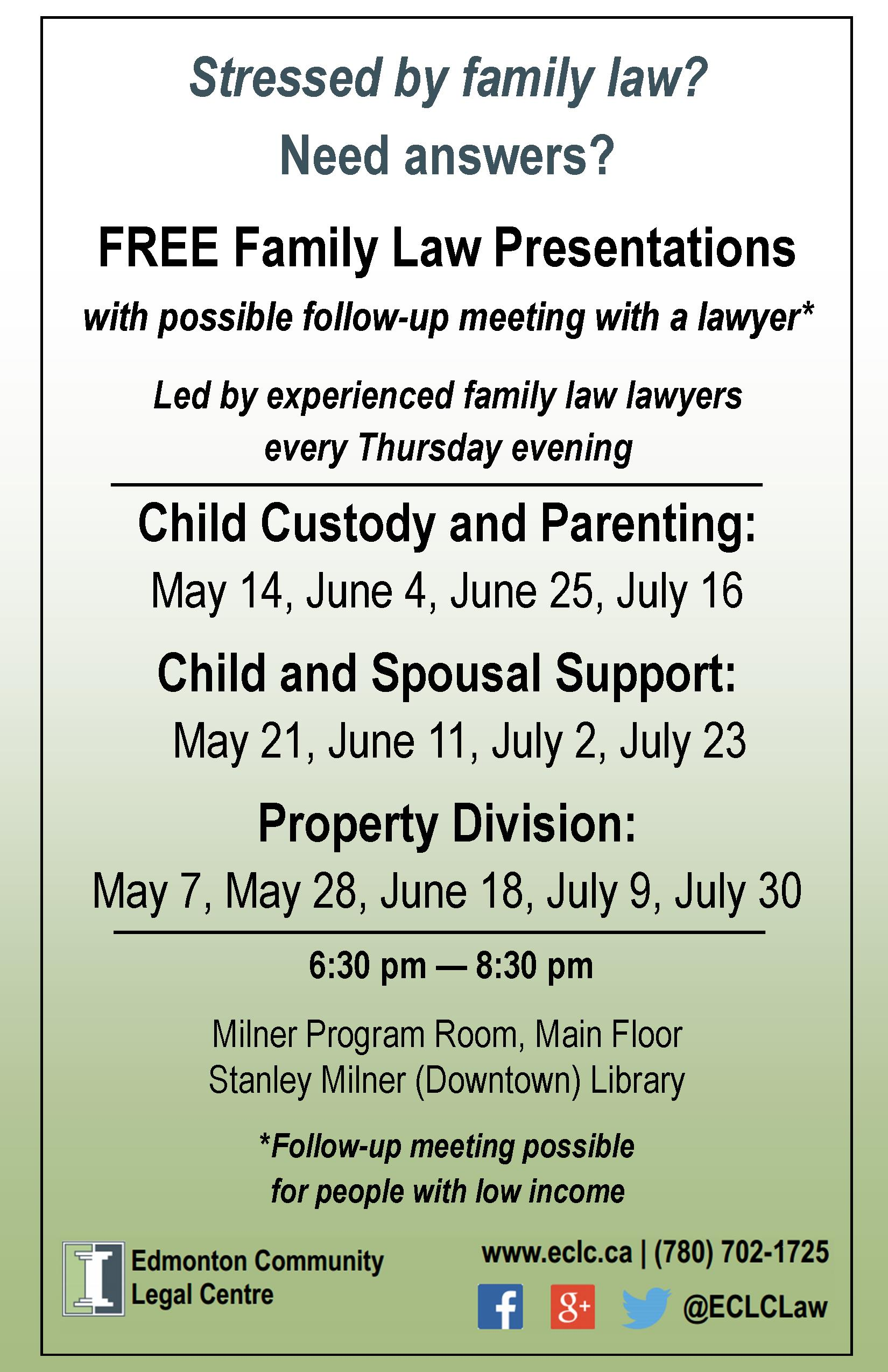 Free Family Law Presentations by ECLC - 2015 Q2