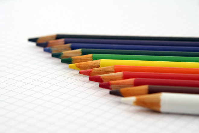 Colorful wooden pencil crayons